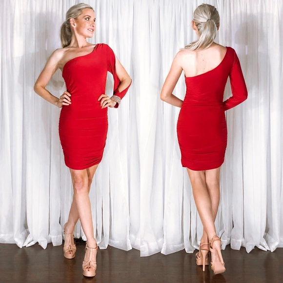 Lette Dresses & Skirts - Red One Sleeve Rhinestone Cuff Cocktail Dress